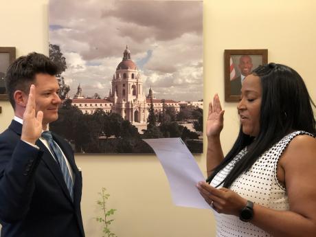 D. Jason Lyon taking the oath office.